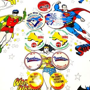 Vintage Sports Pin Buttons